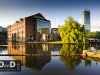 Castlefield canal area Manchester with beetham hilton in background