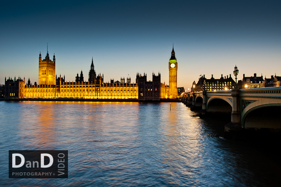 Houses of Parliament night low light London