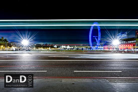 london eye night traffic trails