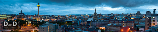 Liverpool city skyline dusk. Copyright Dan Dunkley