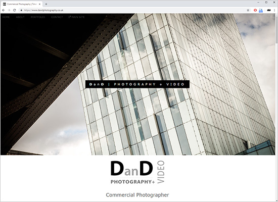 New commercial photographer website screenshot