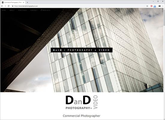 New commercial photographer website screenshot