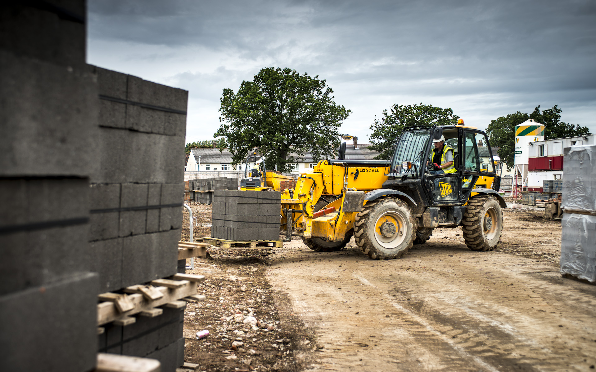 JCB tractor digger on construction site