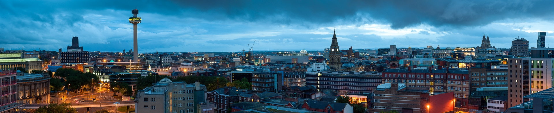 Panoramic view of Liverpool city skyline at night commercial photographer