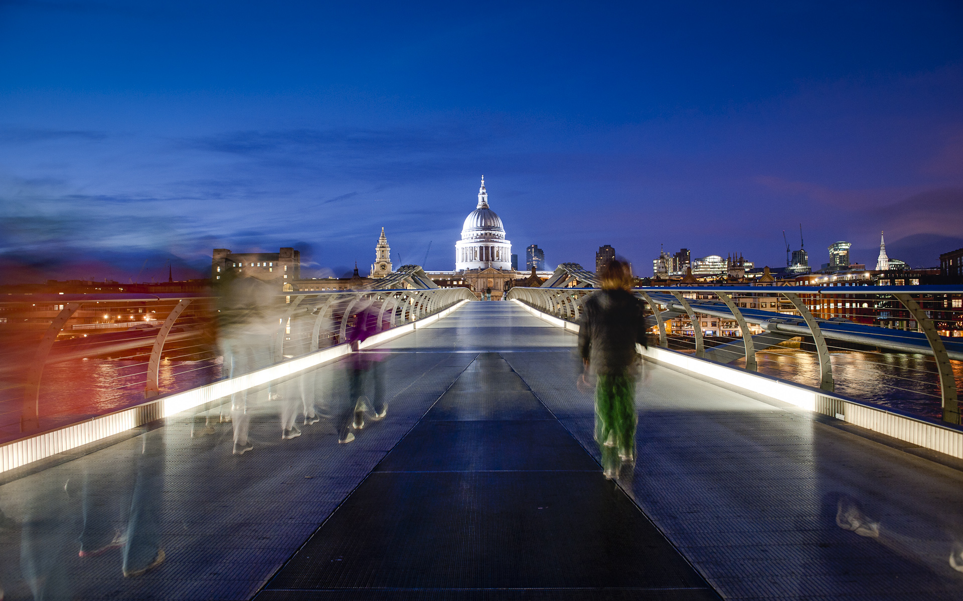 St Paul's cathedral from Millennium Bridge London night