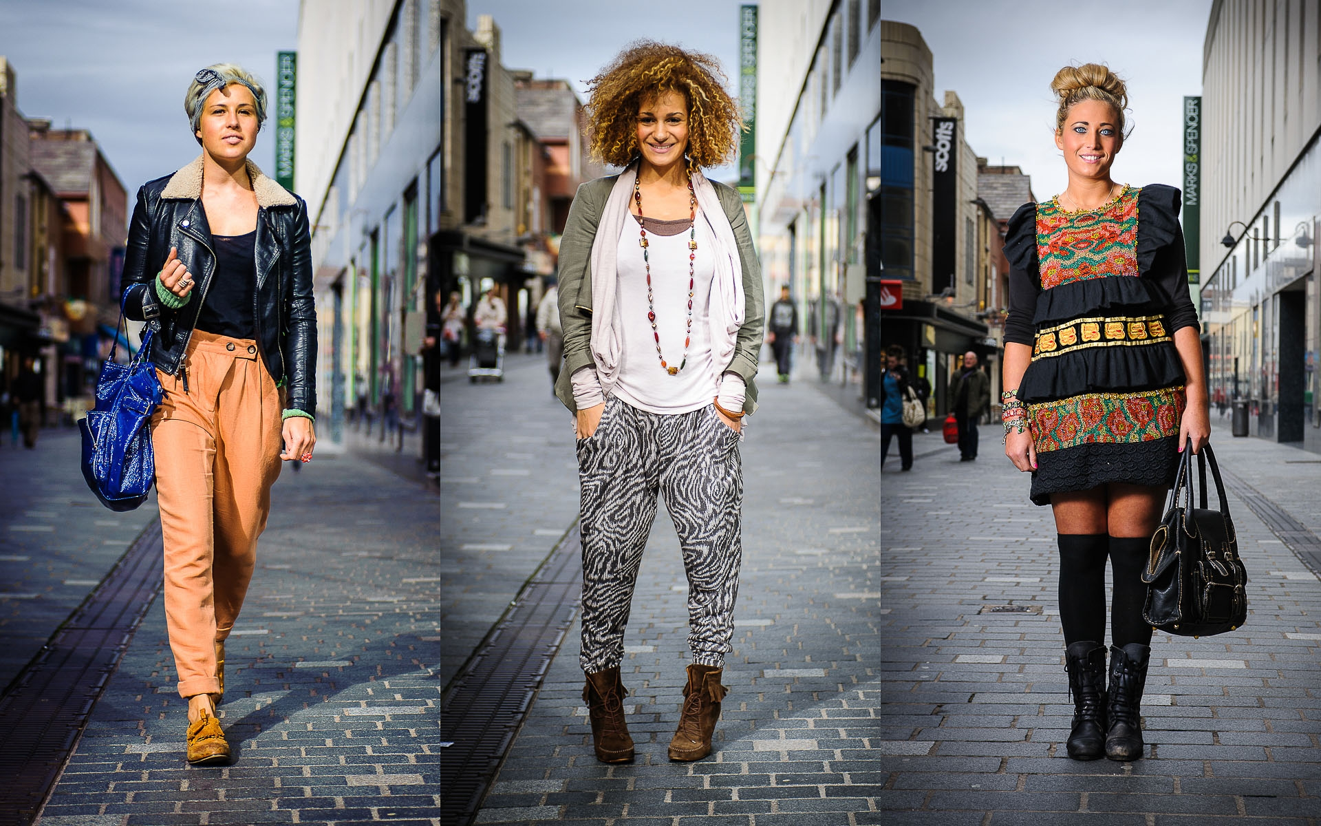 Women in Liverpool street fashion photography editorial shoot