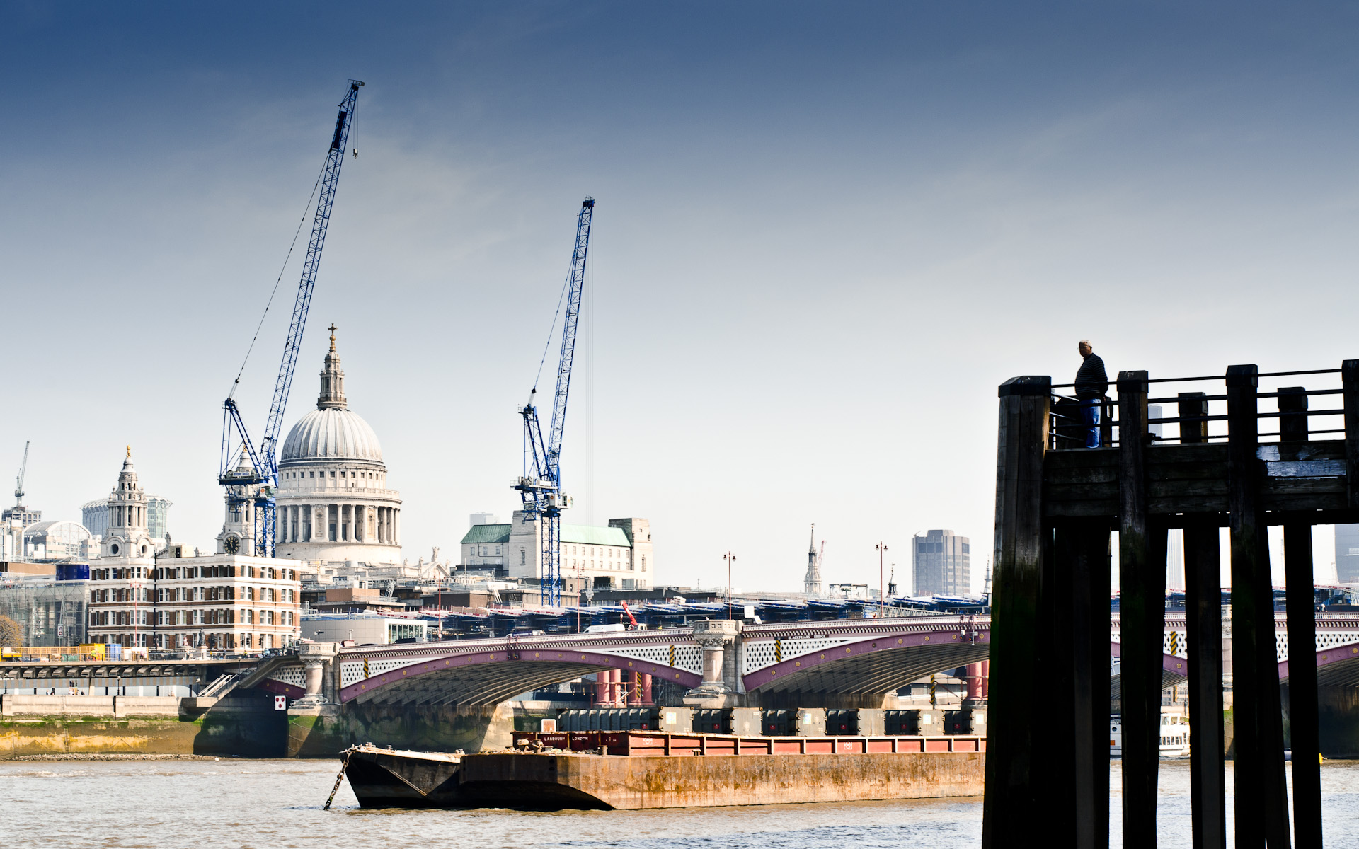 London skyline st pauls with building construction cranes