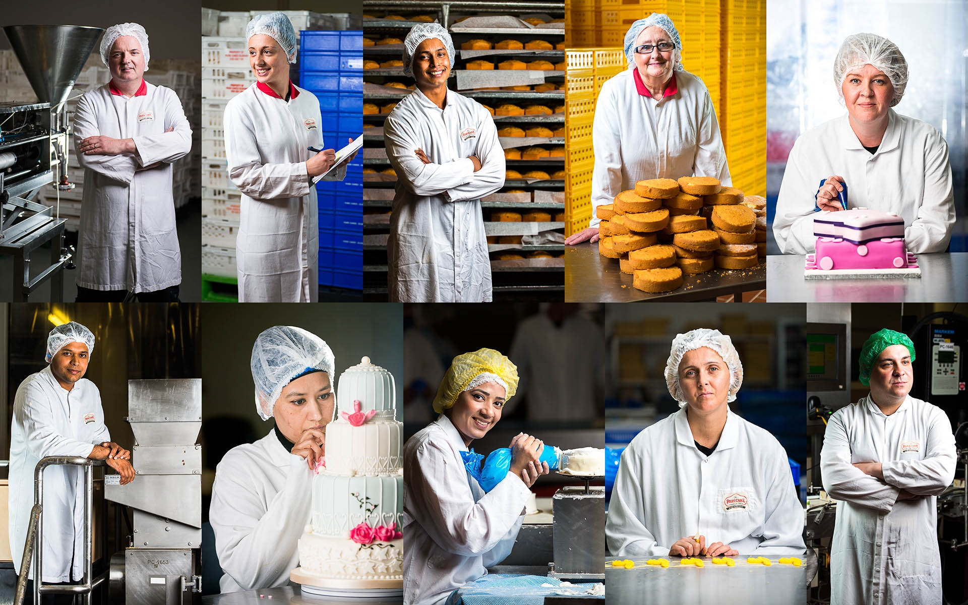 multiple portrait photos of industrial bakery food workers