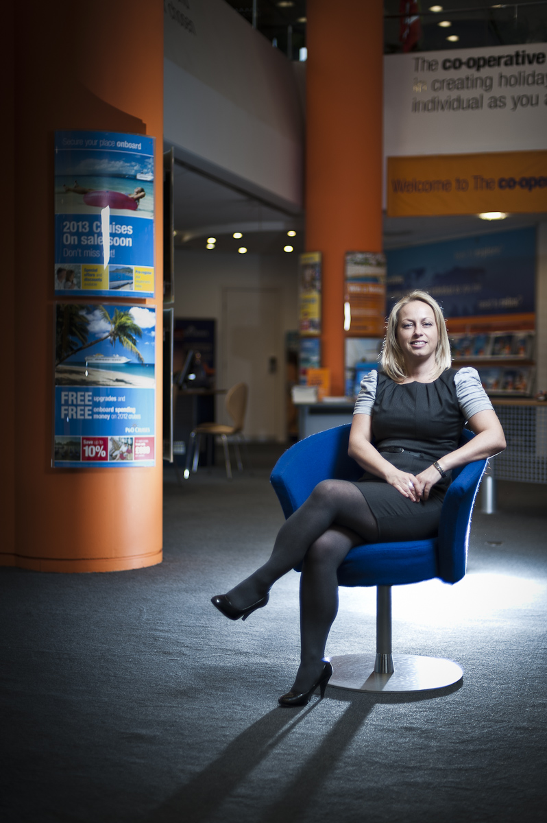 Editorial shoot of woman in Coop headquarters Manchester