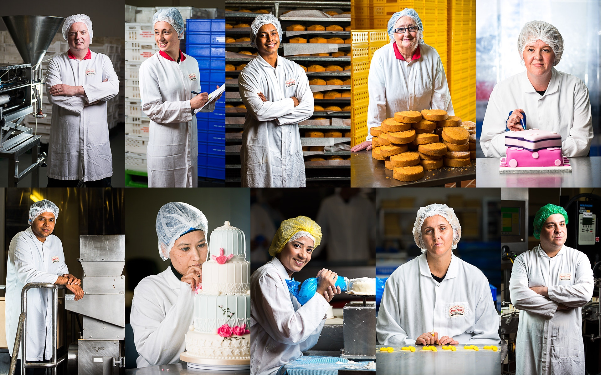 Multiple portrait photos of Park Cake bakery staff, Oldham UK