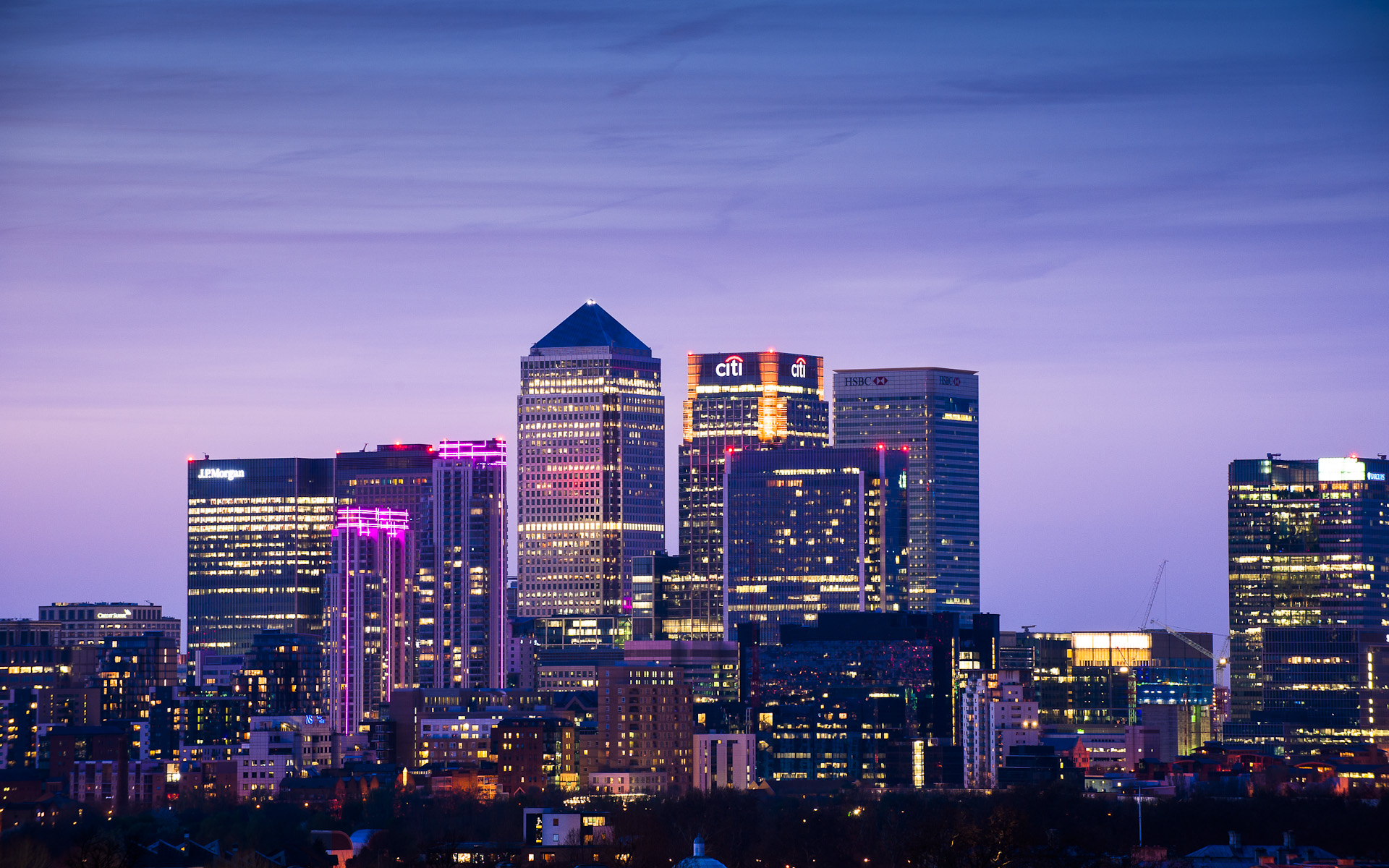 Canary Wharf skyline London city night