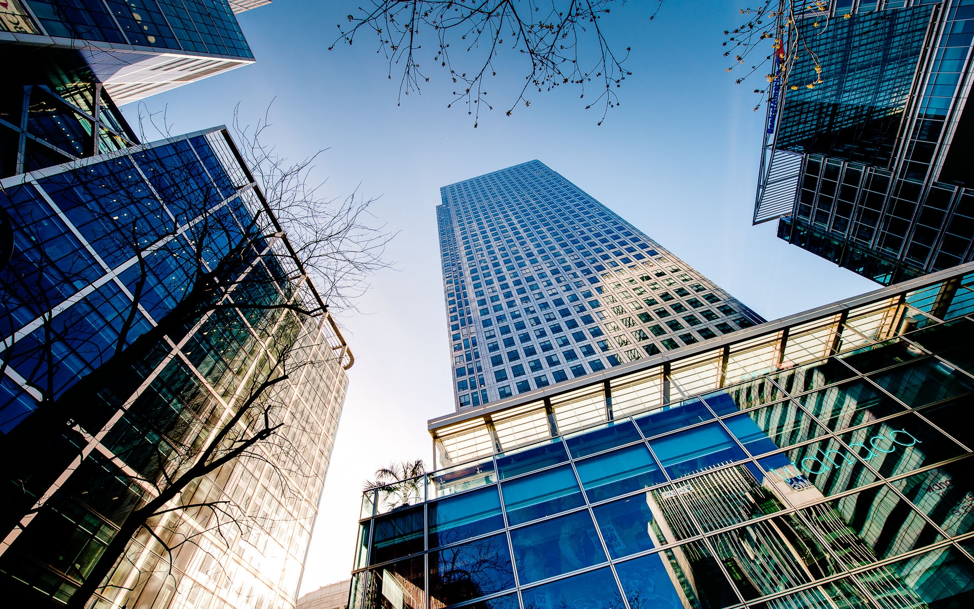 Wide shot of Canary Wharf buildings Commercial Photography