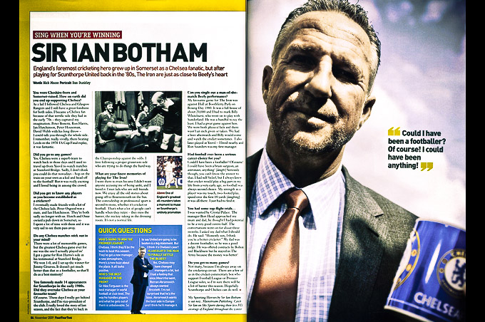 Scan of Ian Botham in Four Four Two editorial photography feature