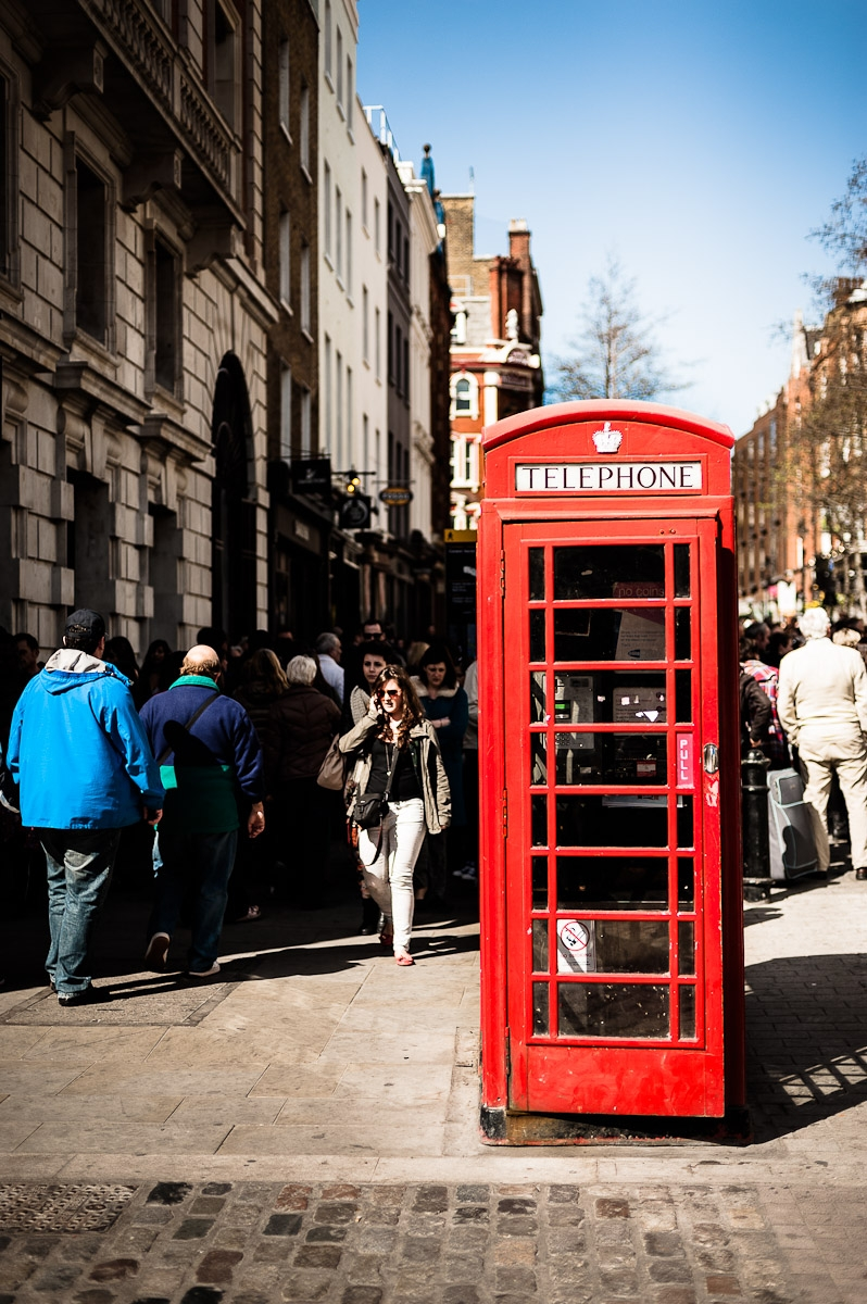 Red telephone box on london street