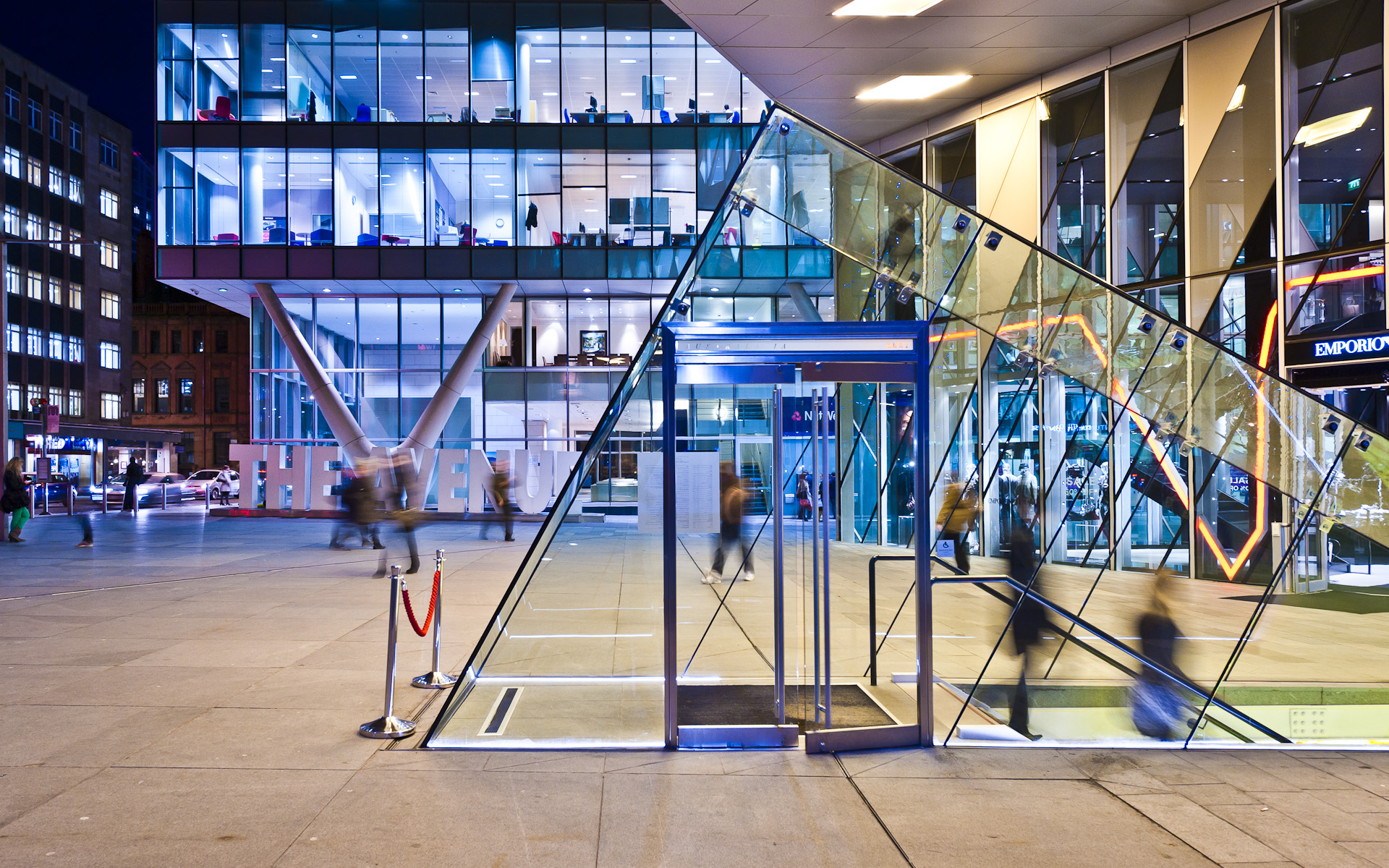 Australasia glass entrance + Avenue Manchester Spinningfileds architectural photography