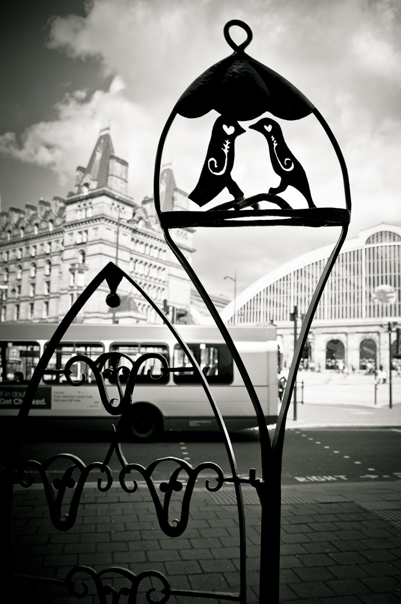 Liver birds metal iron work by Liverpool train station