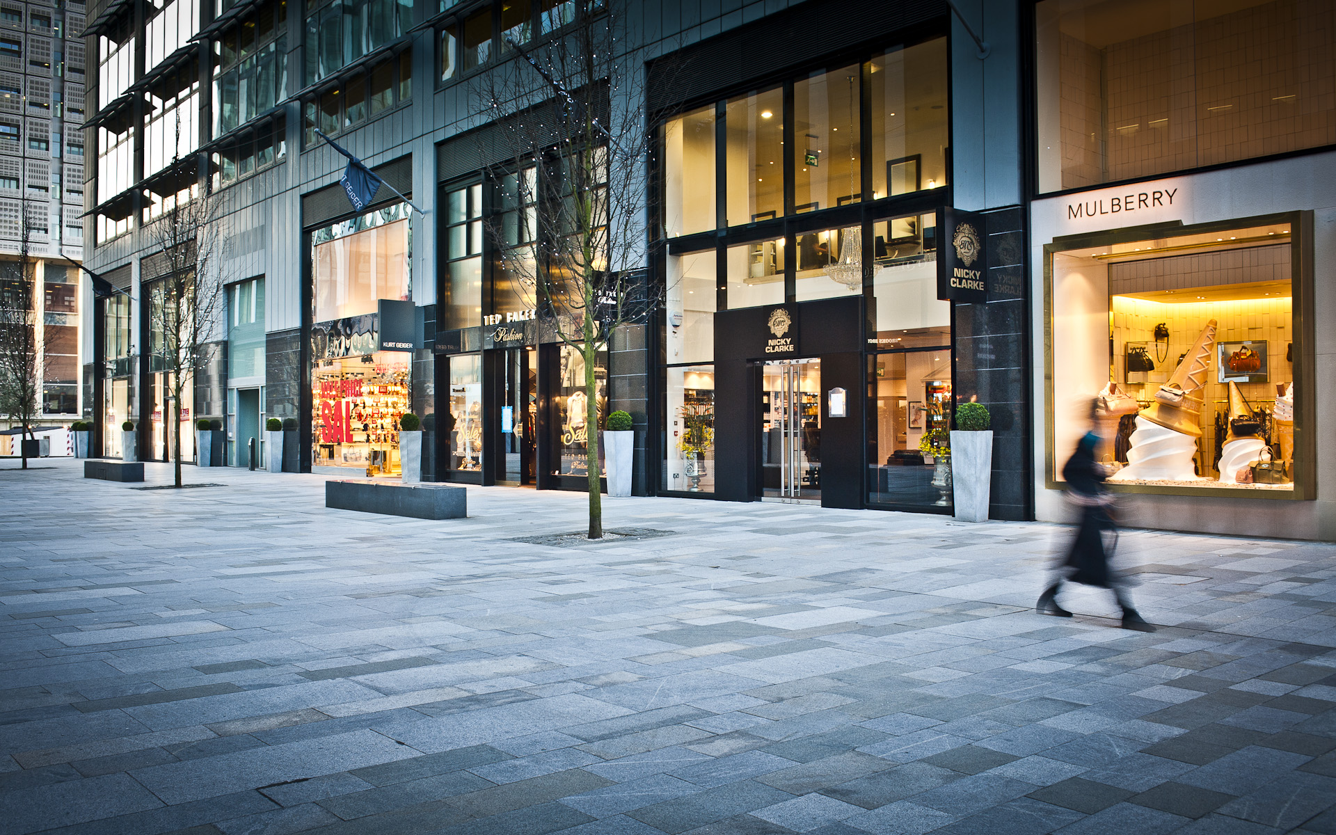 Retail shops on Spinningfields Manchester
